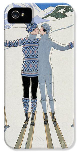 Mountain iPhone 5s Case - Lovers In The Snow by Georges Barbier