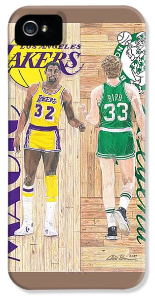 Magic Johnson iPhone 5s Case - Magic Johnson And Larry Bird by Chris Brown