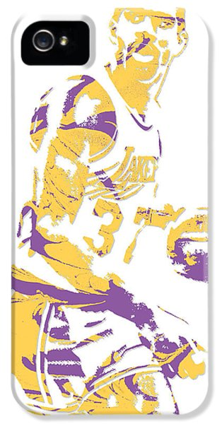 Magic Johnson iPhone 5s Case - Magic Johnson Los Angeles Lakers Pixel Art 6 by Joe Hamilton