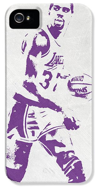 Magic Johnson iPhone 5s Case - Magic Johnson Los Angeles Lakers Pixel Art by Joe Hamilton
