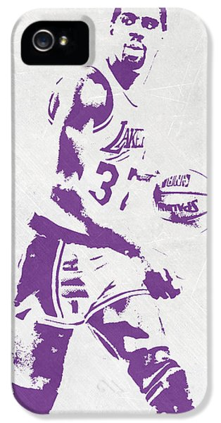 Magic Johnson Los Angeles Lakers Pixel Art IPhone 5s Case by Joe Hamilton