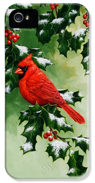 Male Cardinal And Holly Phone Case IPhone 5s Case