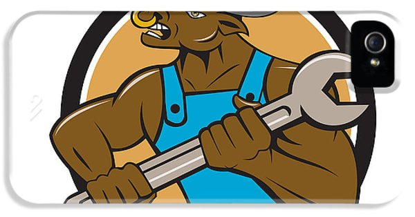 Minotaur iPhone 5s Case - Mechanic Minotaur Bull Spanner Circle Cartoon by Aloysius Patrimonio