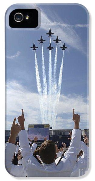 Airplane iPhone 5s Case - Members Of The U.s. Naval Academy Cheer by Stocktrek Images