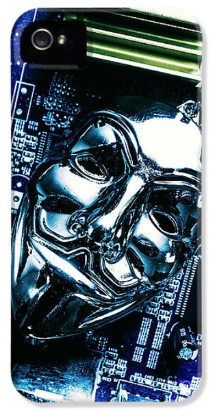 Metal Anonymous Mask On Motherboard IPhone 5s Case by Jorgo Photography - Wall Art Gallery