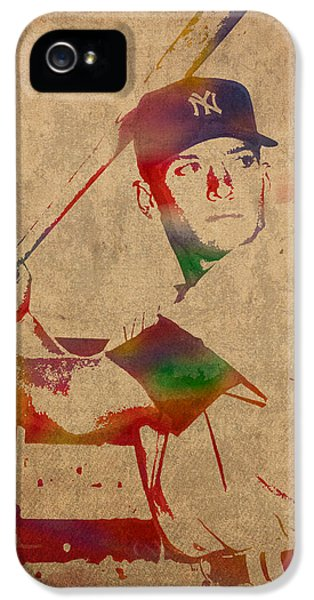 Mickey Mantle New York Yankees Baseball Player Watercolor Portrait On Distressed Worn Canvas IPhone 5s Case