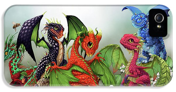 Raspberry iPhone 5s Case - Mixed Berries Dragons by Stanley Morrison