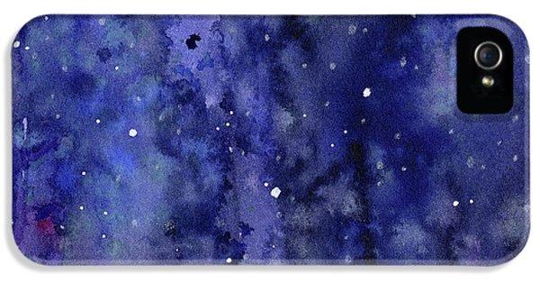Space iPhone 5s Case - Night Sky Watercolor Galaxy Stars by Olga Shvartsur