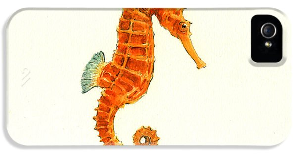 Orange Seahorse IPhone 5s Case by Juan Bosco