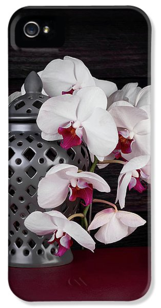 Orchid iPhone 5s Case - Orchids With Gray Ginger Jar by Tom Mc Nemar