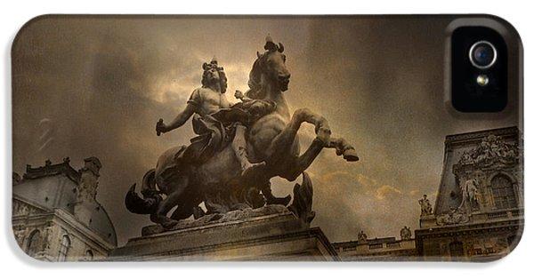Paris - Louvre Palace - Kings Of Paris - King Louis Xiv Monument Sculpture Statue IPhone 5s Case by Kathy Fornal