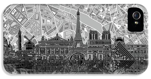 Paris Skyline Black And White IPhone 5s Case