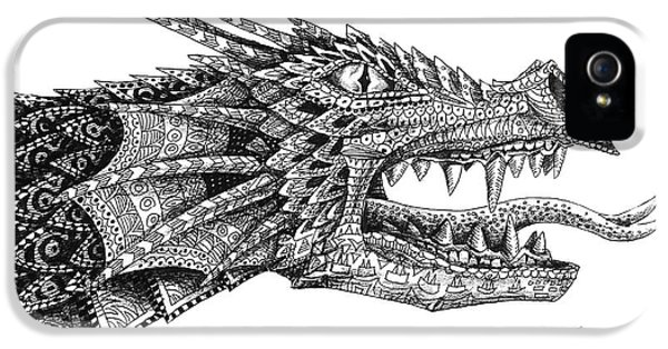 IPhone 5s Case featuring the drawing Pattern Design Dragon by Aaron Spong