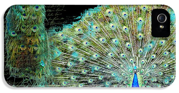 Peacock Pair On Tree Branch Tail Feathers IPhone 5s Case by Audrey Jeanne Roberts