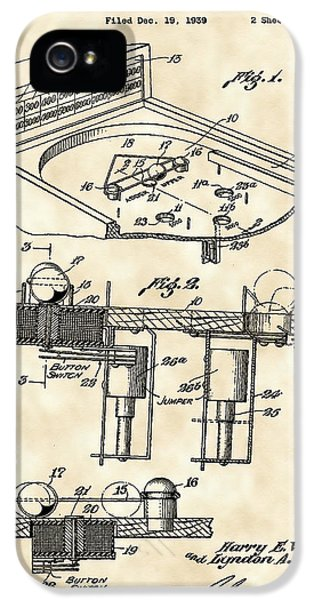 Pinball Machine Patent 1939 - Vintage IPhone 5s Case by Stephen Younts