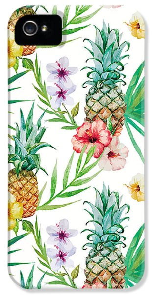 Pineapple And Tropical Flowers IPhone 5s Case