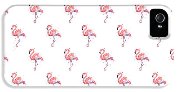 Pattern iPhone 5s Case - Pink Flamingo Watercolor Pattern by Olga Shvartsur