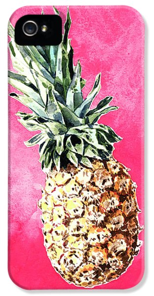Pink Pineapple Bright Fruit Still Life Healthy Living Yoga Inspiration Tropical Island Kawaii Cute IPhone 5s Case by Laura Row