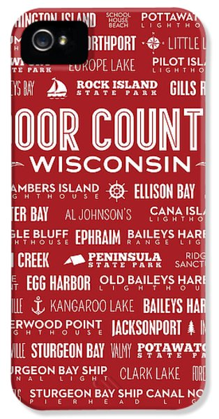 Places Of Door County On Red IPhone 5s Case by Christopher Arndt