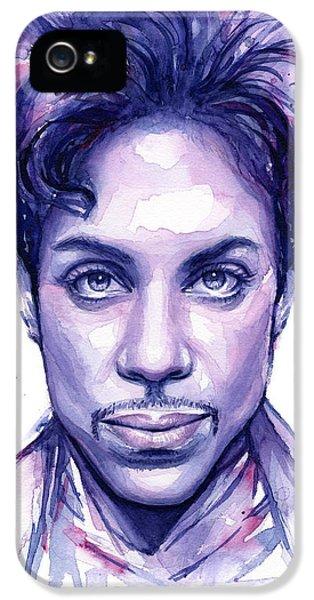 Musicians iPhone 5s Case - Prince Purple Watercolor by Olga Shvartsur