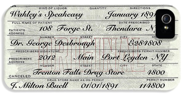 IPhone 5s Case featuring the photograph Prohibition Prescription Certificate Speakeasy by David Patterson