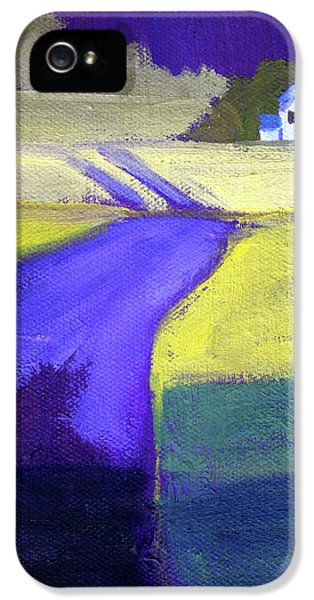 IPhone 5s Case featuring the painting Purple Road Abstract Landscape Painting by Nancy Merkle