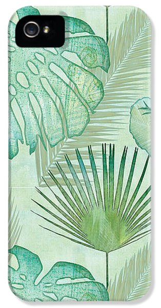 Repeat iPhone 5s Case - Rainforest Tropical - Elephant Ear And Fan Palm Leaves Repeat Pattern by Audrey Jeanne Roberts