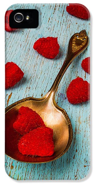 Raspberries With Antique Spoon IPhone 5s Case by Garry Gay
