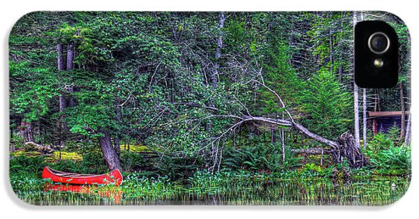 IPhone 5s Case featuring the photograph Red Canoe Among The Reeds by David Patterson
