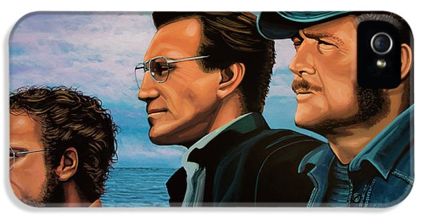 Sharks iPhone 5s Case - Jaws With Richard Dreyfuss, Roy Scheider And Robert Shaw by Paul Meijering