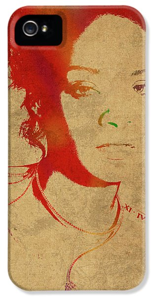 Rihanna iPhone 5s Case - Rihanna Watercolor Portrait by Design Turnpike