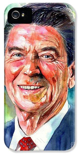 Harvard iPhone 5s Case - Ronald Reagan Watercolor by Suzann's Art