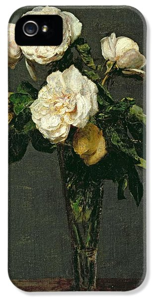 Rose iPhone 5s Case - Roses In A Champagne Flute by Ignace Henri Jean Fantin-Latour