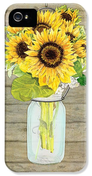 Sunflower iPhone 5s Case - Rustic Country Sunflowers In Mason Jar by Audrey Jeanne Roberts