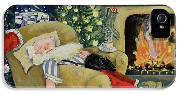 Clock iPhone 5s Case - Santa Sleeping By The Fire by David Cooke