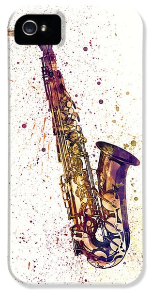 Saxophone iPhone 5s Case - Saxophone Abstract Watercolor by Michael Tompsett