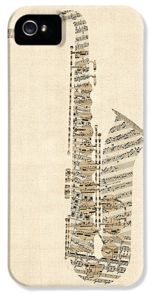 Saxophone iPhone 5s Case - Saxophone Old Sheet Music by Michael Tompsett