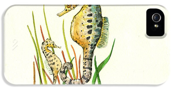 Seahorse iPhone 5s Case - Seahorse Mom And Baby by Juan Bosco