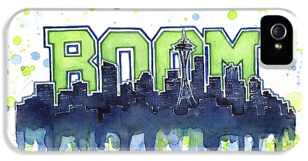 Hawk iPhone 5s Case - Seattle 12th Man Legion Of Boom Watercolor by Olga Shvartsur
