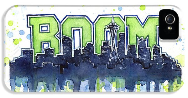 Seattle 12th Man Legion Of Boom Watercolor IPhone 5s Case by Olga Shvartsur