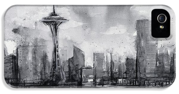 Seattle Skyline iPhone 5s Case - Seattle Skyline Painting Watercolor  by Olga Shvartsur