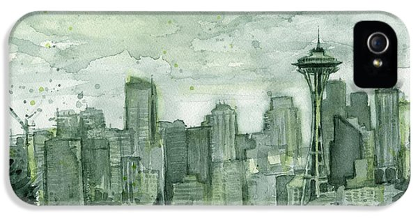 Seattle Skyline iPhone 5s Case - Seattle Skyline Watercolor Space Needle by Olga Shvartsur