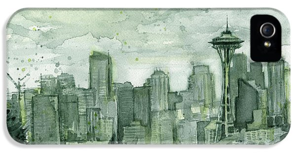 Seattle Skyline Watercolor Space Needle IPhone 5s Case by Olga Shvartsur