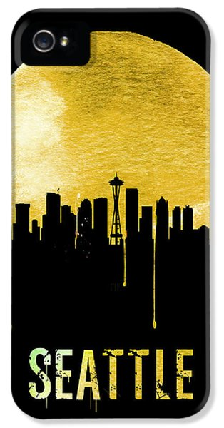 Seattle Skyline iPhone 5s Case - Seattle Skyline Yellow by Naxart Studio