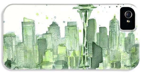 Seattle iPhone 5s Case - Seattle Watercolor by Olga Shvartsur
