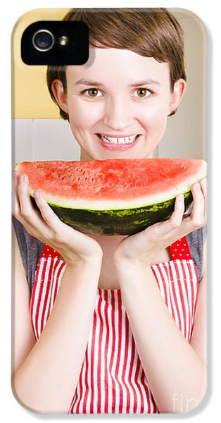 Smiling Young Woman Eating Fresh Fruit Watermelon IPhone 5s Case by Jorgo Photography - Wall Art Gallery