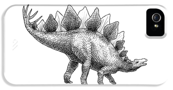 Spike The Stegosaurus - Black And White Dinosaur Drawing IPhone 5s Case by Karen Whitworth