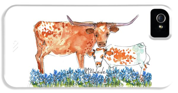 Cow iPhone 5s Case - Springs Surprise Watercolor Painting By Kmcelwaine by Kathleen McElwaine