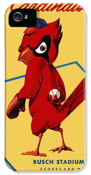 Cardinal iPhone 5s Case - St. Louis Cardinals Vintage 1956 Program by John Farr