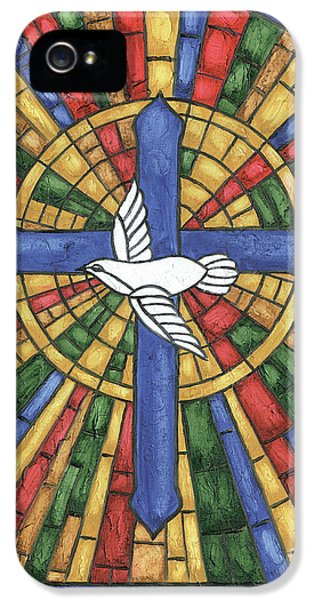 Dove iPhone 5s Case - Stained Glass Cross by Debbie DeWitt
